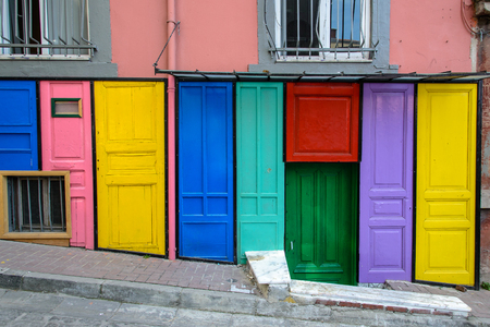 colorful facade in old city of Istanbul Stock Photo