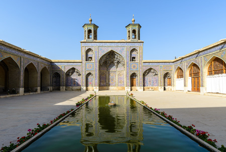 SHIRAZ, IRAN - APRIL 27, 2015: Nasir ol Molk Mosque - qajar era