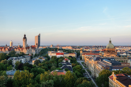 Skyline of Leipzig with townhall and high court at sunset, Germany Stock Photo