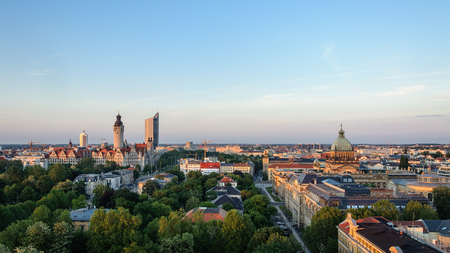 panoramic skyline of Leipzig with townhall and high court at sunset, Germany Фото со стока - 71650327