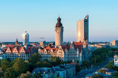 Skyline of Leipzig with townhall at sunset, Germany