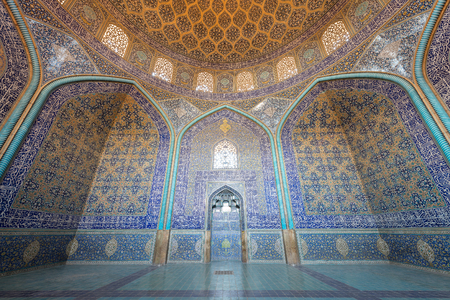 ISFAHAN, IRAN -  AUG 29, 2016: interior ceiling of Sheikh Lotfollah Mosque. Editorial
