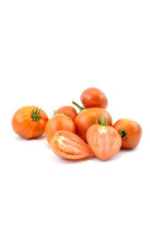 Fresh organic homegrown tomatoes on white background 스톡 콘텐츠