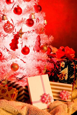White Christmas tree, with red decoration and christmas light Stock Photo