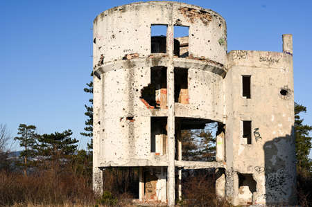 An old space observatory in Sarajevo on the Trebevic mountain, destroyed during the war.