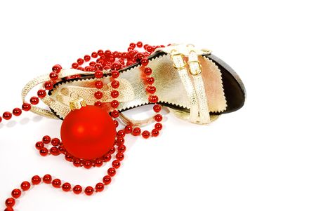 shoes, beads and Christmas ball photo