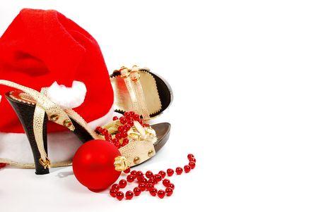shoes, beads and Christmas ball photo