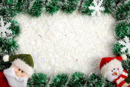 Christmas frame from a garland, snowflakes, Santa and snowman