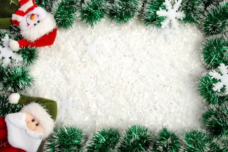 Christmas frame from a garland, snowflakes, Santa and snowman Stock Photo - 3960114