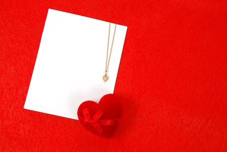 coulomb: Valentines blank card on a red background Stock Photo