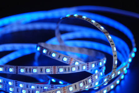Blue led strip on the black background Stock Photo