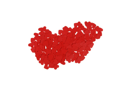built: contour of the Hungary built of small red hearts on a white background