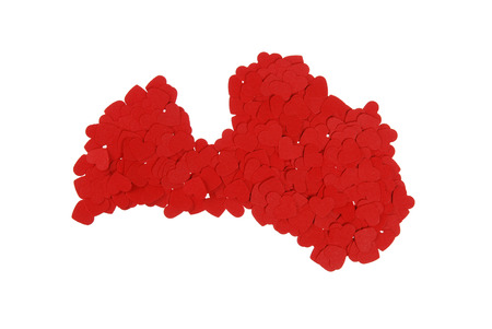 built: contour of the Latvia built of small red hearts on a white background