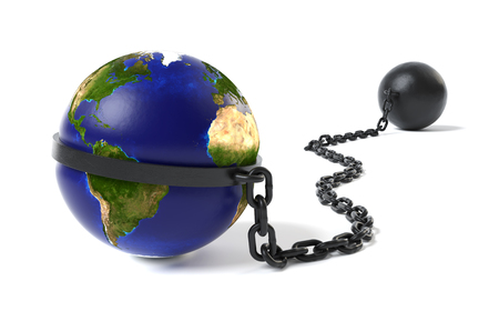 Planet Earth tied to a Ball and Chain Stock Photo