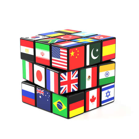 international flags: A  Cube with many nations flags beeing solved Stock Photo