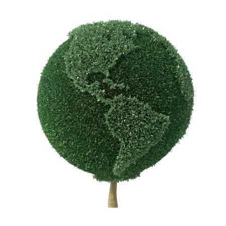 Topiary tree shaped as the Earth facing the Americas