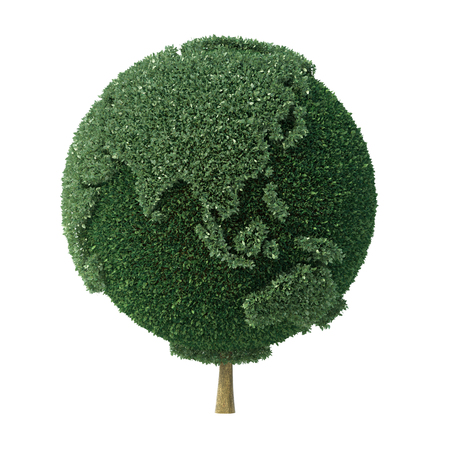 Topiary bush shaped as Earth facing Asia