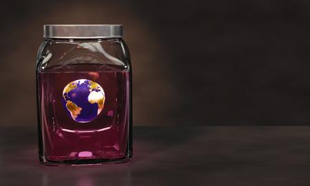 mundo contaminado: La preservación de la tierra del planeta en un tarro de cristal de líquido de color rosa