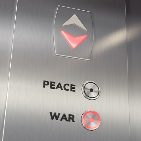 Elevator panel with War Button pushed