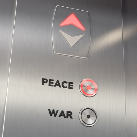 Elevator panel with Peace Button pushed