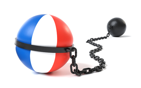 France hold back by a Ball and Chain restraint device Stock Photo