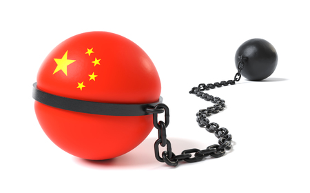 China hold back by a Ball and Chain restraint device