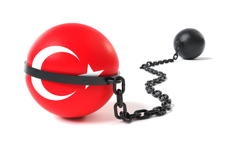 Turkey hold back by a Ball and Chain restraint device