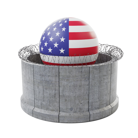 Concrete border wall with barbed wire surrounding United States of America