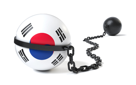 South Korea hold back by a Ball and Chain restraint device Stock Photo