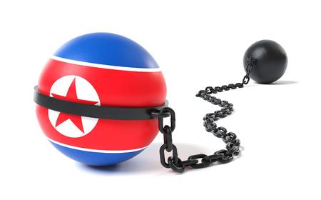Corea del Norte espera por un dispositivo de retención de bolas y cadenas Foto de archivo - 81778260
