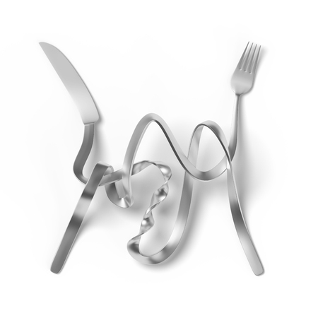 Fork and Knife twisted and tangled together making it difficult to eat