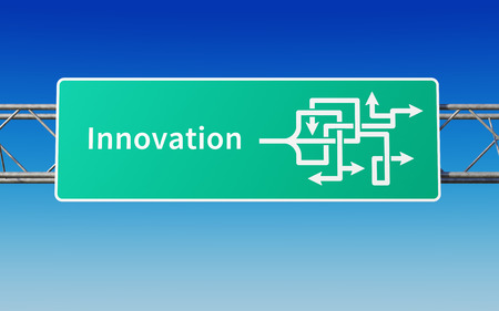 Road sign showing the uncertain exit to innovation