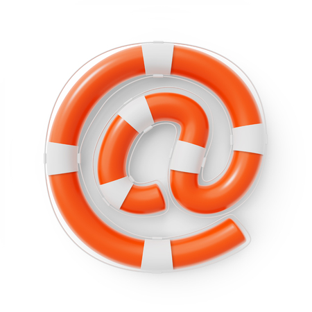 Email At Symbol formed as a Lifebuoy for online Help and Support