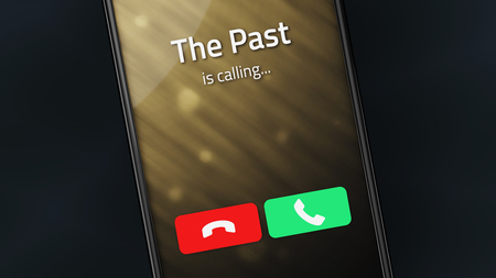 Incoming call from The Past on a smartphone