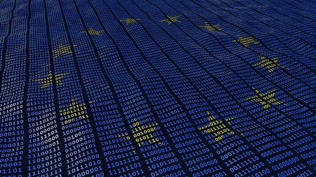 Bit e byte di protezione dei dati dell'Unione Europea in modalità ondulata con stelle UE Archivio Fotografico