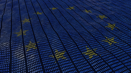 European Union Data Protection bits and bytes in waving pattern with EU stars