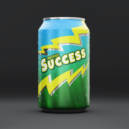 Energy drink can with an Instant Success logo and droplets