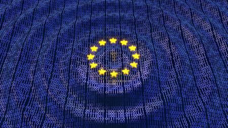 Bits y bytes de protección de datos de la Unión Europea en un patrón ondulante con brillantes estrellas de la UE Foto de archivo