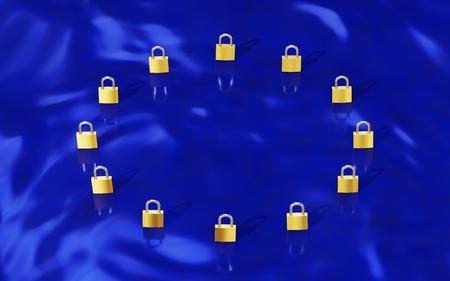 European Union Data Protection Gold padlocks forming a EU flag (GDPR) Stock Photo