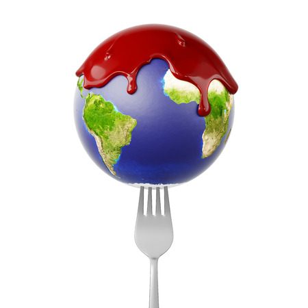 Planet Earth globe on a fork with blood running down