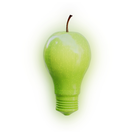 Apple shaped as a light bulb glowing on white background. Innovation, idea and creativity concept. Фото со стока