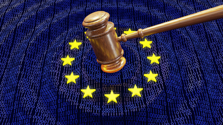 Judge hammer or gavel hitting EU data bits and bytes. Concept of GDPR law, breach and monetary penalty Фото со стока