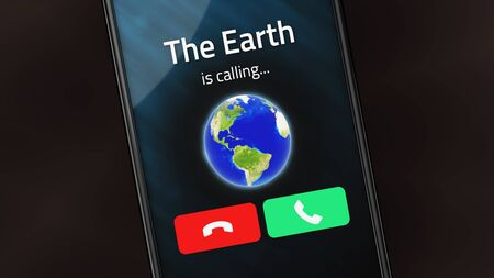 Incoming phone call from The Earth on a smartphone
