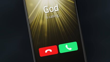 Incoming call from God on a smartphone