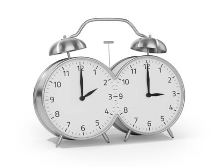 Daylight saving time begins in the spring by setting the clock forward one hour Stock Photo