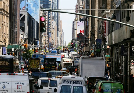 Many cars standing on the 8th Avenue in Manhattan
