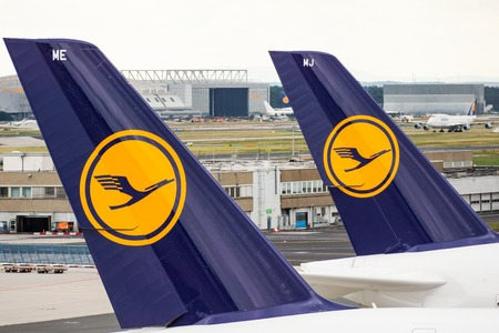 The Lufthansa-Logo on two Airbus A380 in Frankfurt