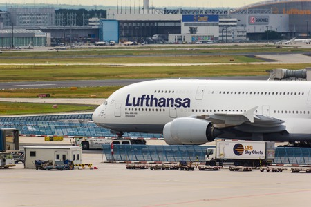 A Lufthansa A380 waiting on the airfield in Frankfurt Editorial