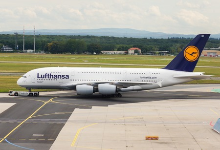 A Lufthansa A380 on the taxiway at the Frankfurt Airport Editorial