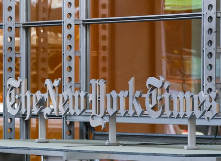 new york times: The headquarter of the New York Times with Logo Editorial